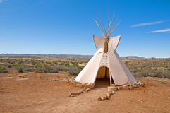 Tee pee. A traditional native american dwelling in a desert scene stock photo