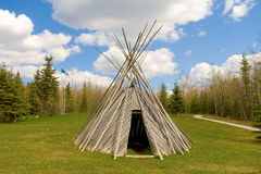 A tee-pee on display at a tourist information center Royalty Free Stock Image