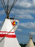 Tee Pee skyline. A pair of Native American tee pees raised proudly against the skyline Royalty Free Stock Images
