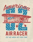 Tee print passenger airplane or transport, t-shirt graphics design. Vector grunge background. vintage lettering and Stock Photography