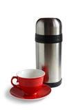 Tee Schutzkappe und Thermos. Getrennt mit Ausschnittspfad Lizenzfreies Stockbild