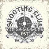 Tee shirt print design. Vintage typography, grunge t-shirt graphics,  apparel stamps, tee print design, vintage  emblem of Shooting club, vector Royalty Free Stock Photo