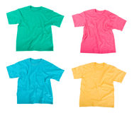 Tee shirts. Bright colored Tee Shirts isolated on white Royalty Free Stock Photos
