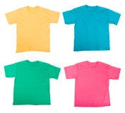 Tee shirts. Bright colored Tee Shirts isolated on white Stock Images