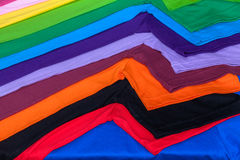 Tee shirts made from cotton and fiber. Tee shirts made from Synthetic fiber and made from 100 percent cotton Stock Photos