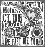 Tee skull motorcycle graphic design Royalty Free Stock Image