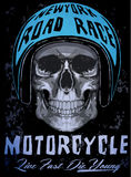 Tee skull motorcycle graphic design. Fashion style Royalty Free Stock Image