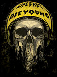 Tee skull motorcycle graphic design Stock Photo