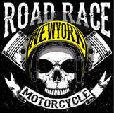 Tee skull motorcycle graphic design. Fashion style Stock Photos