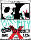 Tee skull motorcycle graphic design. Fashion style Stock Photo