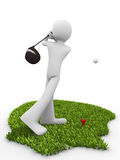 Tee stroke. Starting golf match Royalty Free Stock Photography