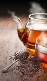 Tee-Teekannen-Schalen-Hintergrund stockfotos