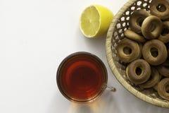 Tee und Bagel Lizenzfreies Stockbild
