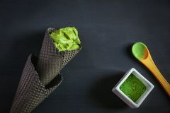Tee-und Bananen-Eiscreme Matcha Lizenzfreies Stockfoto