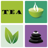 Tee und entspannen sich Ikonensatz lizenzfreie stockbilder