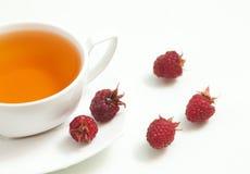Tee und Himbeeren Lizenzfreies Stockfoto