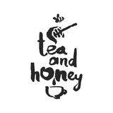 Tee und Honey Calligraphy Lettering Stockfoto