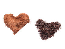 Tee-und Kaffee-Herz lizenzfreie stockfotografie