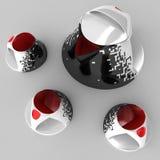 Tee- und Kaffeeservice mit Zeichnung von Kunstgraphiken Abbildung 3D Stockbilder