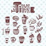 Tee- und Kaffeezeit Gekritzelskizzensammlung mit Schalen Karikatur polar mit Herzen Lizenzfreie Stockfotos
