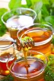 Tee und Kräuter stockfotos