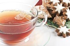 Tee- und Lebkuchenplätzchen stockbild