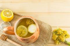 Tee von Lindenbäumen mit frischen Blumen und Zitrone Lizenzfreie Stockfotos