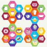 Tee-Zeit, Teeschalen, Töpfe und des Nachtischs Illustratio der kleinen Kuchen Stockfotos