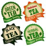 Teeaufkleber, -aufkleber oder -stempel Stockbild