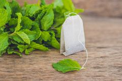 Teebeutel auf hölzernem Hintergrund mit frischer Melisse, Minze Tee mit tadellosem Konzept lizenzfreie stockbilder