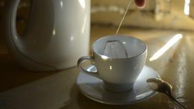 Teebeutel in einem Cup stock video