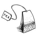 Teebeutel mit Aufkleber stock abbildung