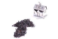 Teeblätter und kleines Haus Stockbild