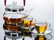 Teecup mit frischen tadellosen Blättern Stockfotos