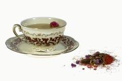 Teecup und -kräuter Lizenzfreies Stockfoto