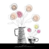 Teecup und Teekanne Stockfotografie