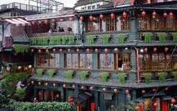 Teehäuser an Jiufen-Dorf in Taipeh, Taiwan Lizenzfreie Stockfotografie