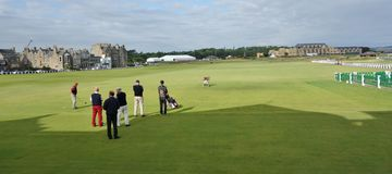 Teeing off at St. Andrews Golf Course, Scotland. royalty free stock photo