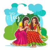 Teej celebration in india beautiful indian women&  illustration. Teej celebration india beautiful womne womens  illustration smile smiling festival rain rainy stock illustration
