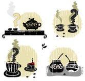 Teekaffeegehilfe - Set des Getränks Stockfotografie