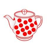 Teekanne mit rotem Punktvektor Stockfotos