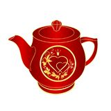 Teekanne rotes Porzellangoldverzierungsherz mit der Kronen- und Blattweinlesevektorillustration editable Lizenzfreie Stockfotografie