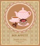 Teekanne, Schale mit Tee, Kuchen und Gewürz lizenzfreie abbildung