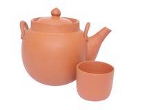 Teekanne und Schale für Tee Lizenzfreies Stockfoto
