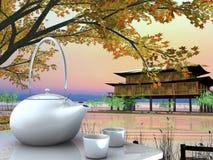 Teekanne und Schalen auf Tabelle Stockbild