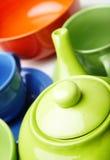 Teekanne und Teacups Stockbilder