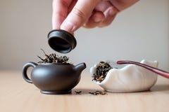 Teekanne und Teekasten Lizenzfreies Stockfoto
