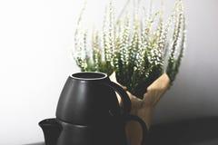 Teekanne und Teetasse Stockfotografie