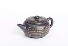 Teekanne verziert mit chinesischer Kalligraphie Stockfotos