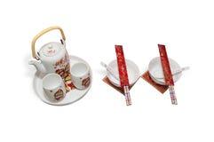 Teekannen und Schüsseln Lizenzfreie Stockfotos